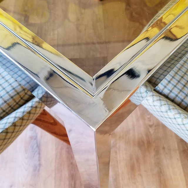 1970s Milo Baughman Square Chrome and Smoked Glass Dining Table For Sale In Seattle - Image 6 of 12