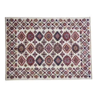 Hand-Knotted Kazak Caucasian Design Wool Rug- 6′3″ × 8′5″ For Sale