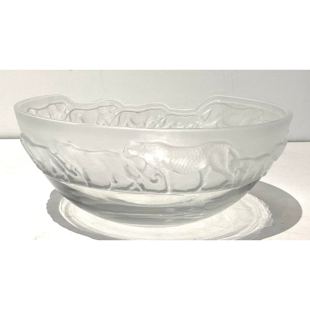 Transparent Art Deco Revival Nachtmann Safari Leopard Bowl Frosted and Clear Lead Crystal For Sale - Image 8 of 13