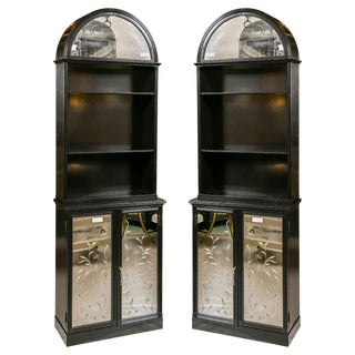 Pair of Etched Detailed Mirror Ebonized Dome Bookcase Etagere Cabinets For Sale