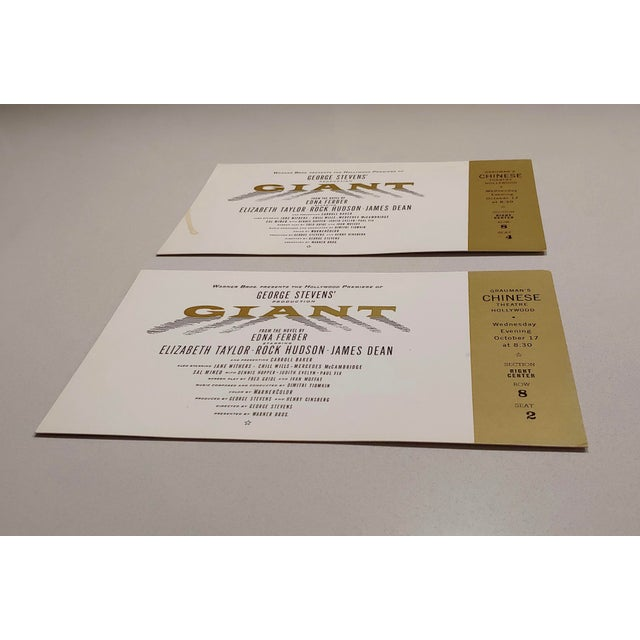 """Lead """"Giant"""" Original 1956 Chinese Theater Hollywood Premiere Tickets - a Pair For Sale - Image 7 of 7"""