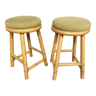 McGuire Rattan Bar Stools - a Pair For Sale