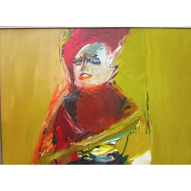 1970s Vintage Suzanne Peters Expressionist Style Portrait Oil on Board Painting For Sale In Chicago - Image 6 of 11