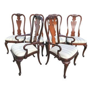Vintage Hekman George II Style Cherry Dining Chairs - Set of 6 For Sale