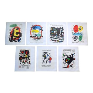 Vintage Mid 20th C. Modern Lithographs-Joan Miro-Set of 7 For Sale