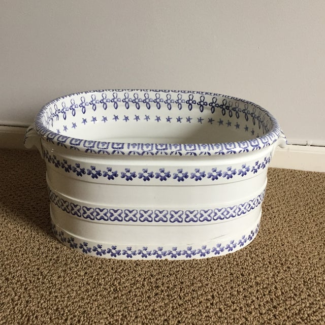 Vintage Blue and White Oversized Hand-Painted Vessel For Sale - Image 10 of 11