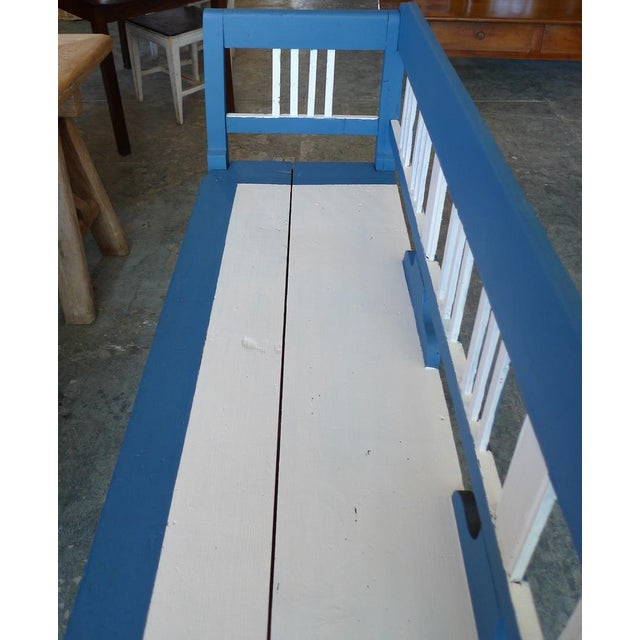French xix long painted bench, 2 side arms, back and one deep drawer.