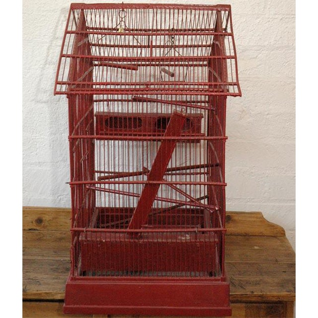 Large Wire & Wood Birdcage For Sale - Image 9 of 9