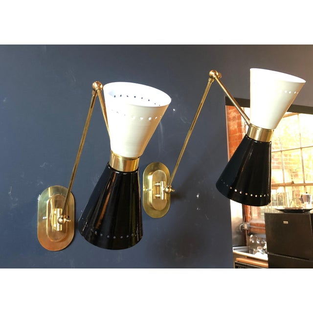 1960s 1960s Italian Lacquer and Brass Sconces - a Pair For Sale - Image 5 of 11
