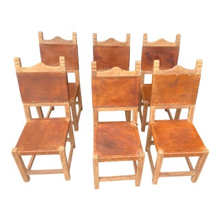 Spanish Colonial Style Rustic Leather Dining Room Chairs Set of 6 For Sale