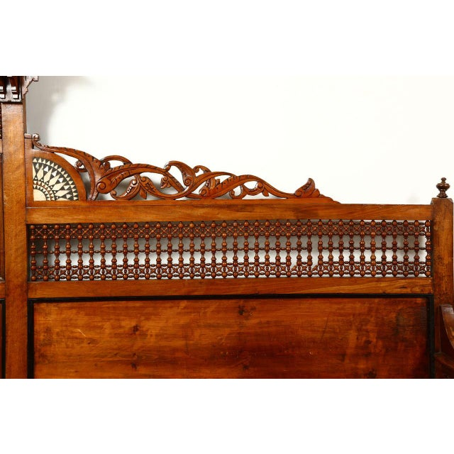 Mid 19th Century Antique Syrian Settee With Mother-Of-Pearl Inlay For Sale - Image 5 of 10