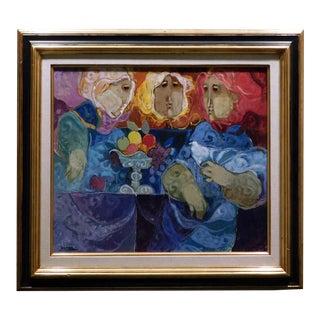 "Sunol Alvar ""La Mesa De La Contemplation"" Original Oil Painting on Board, Custom Framed For Sale"