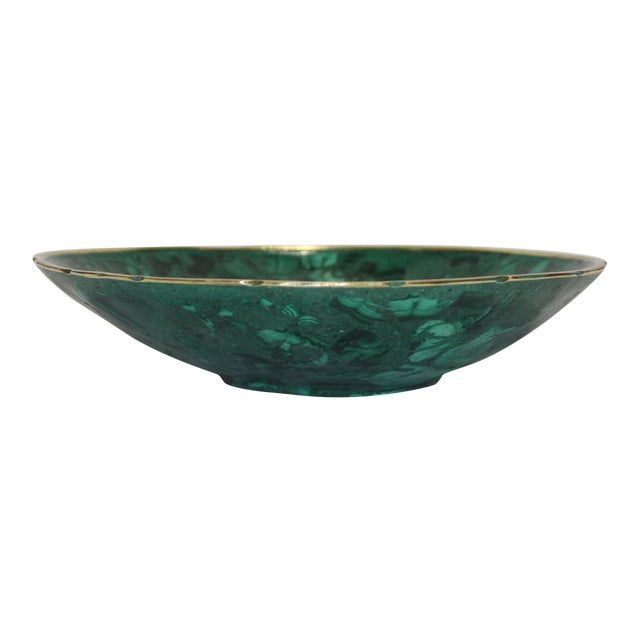 Hand-Crafted Malachite Bowl With Scalloped Brass Edging For Sale