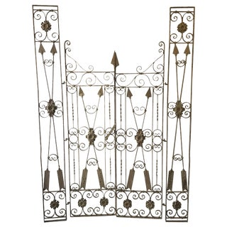 Set of Custom Neoclassical Iron Garden Gates For Sale