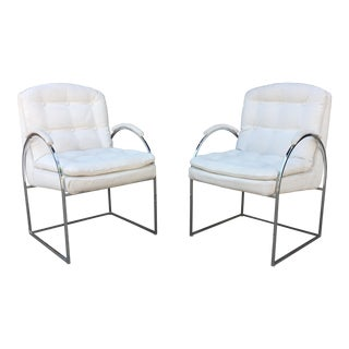 1970s Mid Century Modern Milo Baughman Style Chrome Arc Side Chairs - a Pair For Sale