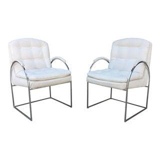 1970s Mid Century Modern Milo Baughman Style Chrome Arc Side Chairs - a Pair For Sale