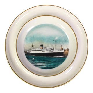 1950s Souvenir Hand-Colored Maritime Plate Ashtray for Moore McCormack Liners For Sale