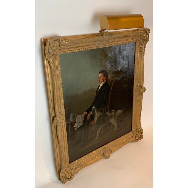19th Century Portrait of a Distinguished Gentleman with Dog Oil Painting, Framed For Sale - Image 9 of 13