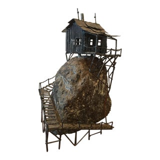 Vintage Metal and Stone House Sculpture