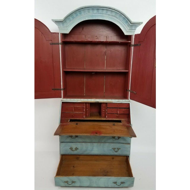 Antique 18th C Blue Paint Decorated French Country Secretary Desk. Outstanding blue paint decoration with unusual red...