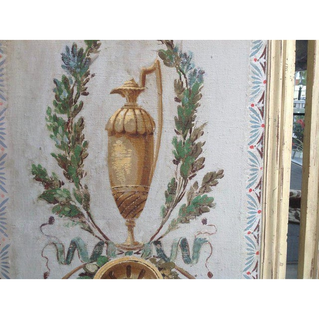 Canvas Pair of Antique Painted Canvas Window Panels For Sale - Image 7 of 13