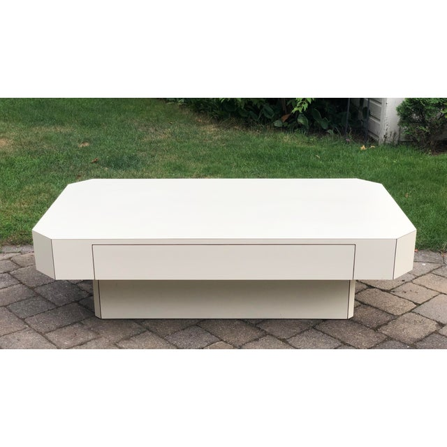 Very unique, custom made geometric all white coffee table, circa 1980s. Beautiful clean lines, minimalist design,...