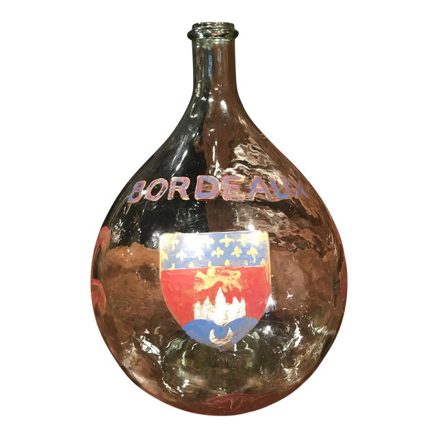 Large French Handblown Wine Bottle With Handpainted Coat of Arms of Bordeaux For Sale