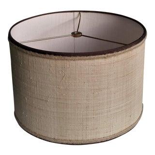 Lampshade Natural Raffia Cloth Drum Chocolate Brown Grosgrain Ribbon Jute Trim For Sale