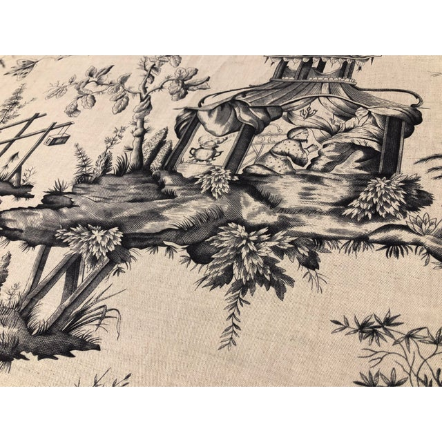 Schumacher Chinoiserie Linen Fabrics - A Pair For Sale In Los Angeles - Image 6 of 7
