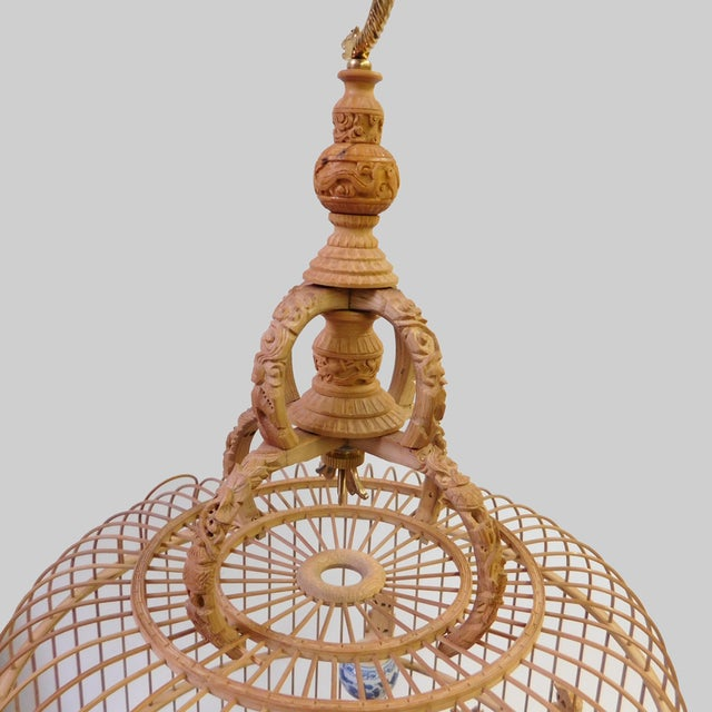 Brown Bamboo Floral Carved Birdcage For Sale - Image 8 of 9