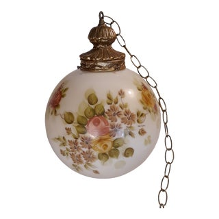 1970s Large Fenton-Style Hanging Globe Swag Lamp Light For Sale