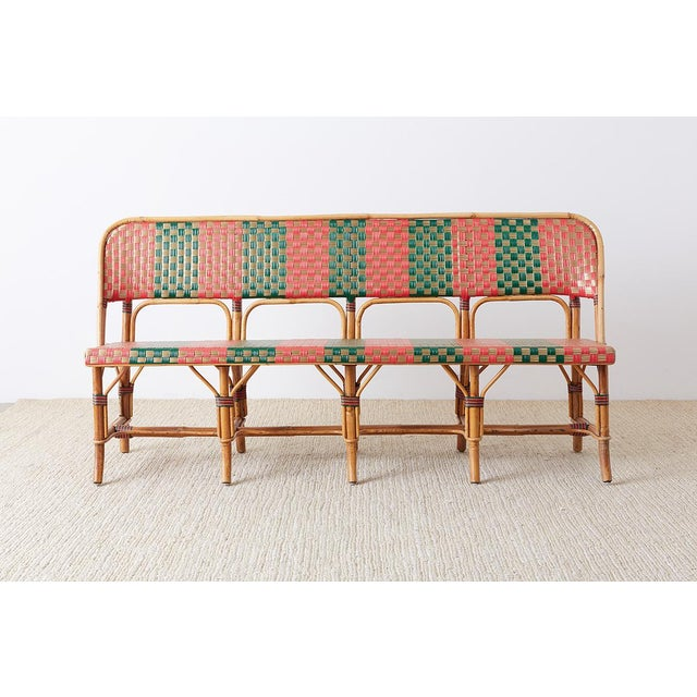 French French Maison Gatti Rattan Bamboo Banquette Bench For Sale - Image 3 of 13
