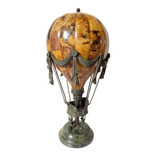 Matiland-Smith Penshell Crackle Balloon Lamp on Marble Base For Sale