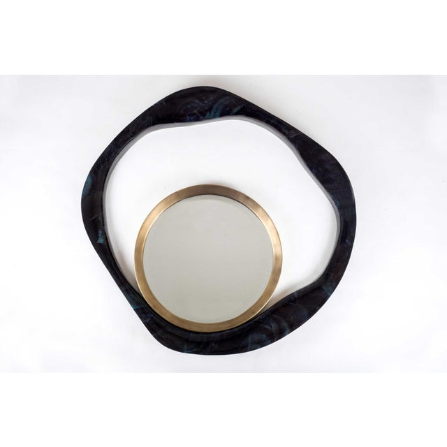Early 21st Century Lily Mirror Medium in Cream Shagreen and Bronze-Patina Brass by R&y Augousti For Sale - Image 5 of 7
