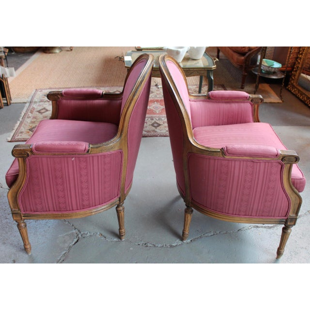 Vintage French Louis XVI Style Bergeres - Pair - Image 3 of 8