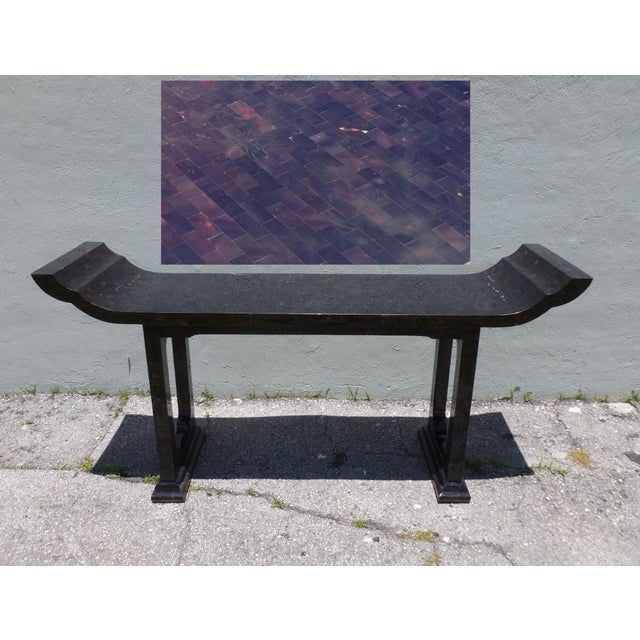 Stunning Maitland Smith tessellated horn console table in the manner of James Mont sold as found in vintage condition...