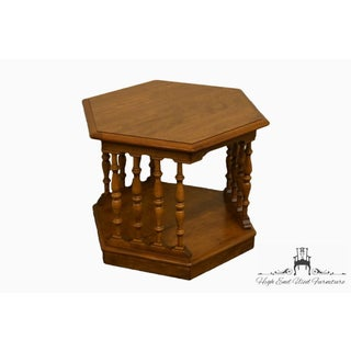 20th Century Traditional Ethan Allen Heirloom Nutmeg Hexagonal Spindle End/Lamp Table Preview