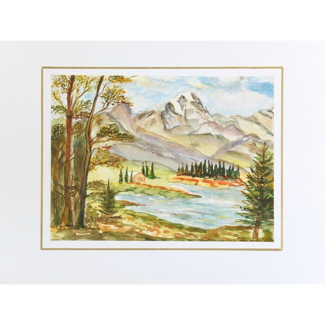 Vintage Watercolor Mountain Lake Painting - Image 3 of 3
