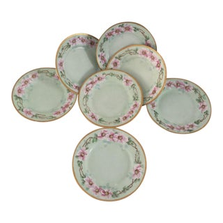 Vintage Hand Painted Floral Plates - Set of 7