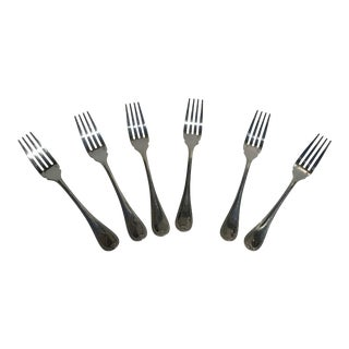 Christofle France Malmaison Pattern Pastry Fork Silver Plated Flat Wear - Set of 6 For Sale