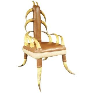 Vintage Steer Horn Parlor Chair For Sale