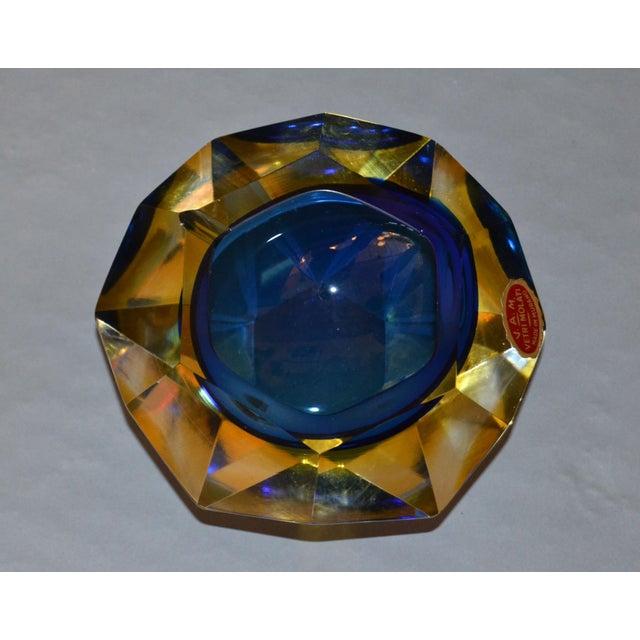 Multi Faceted Murano Glass Ashtray Attributed to F. Poli by Vetri Molati Murano For Sale - Image 11 of 12