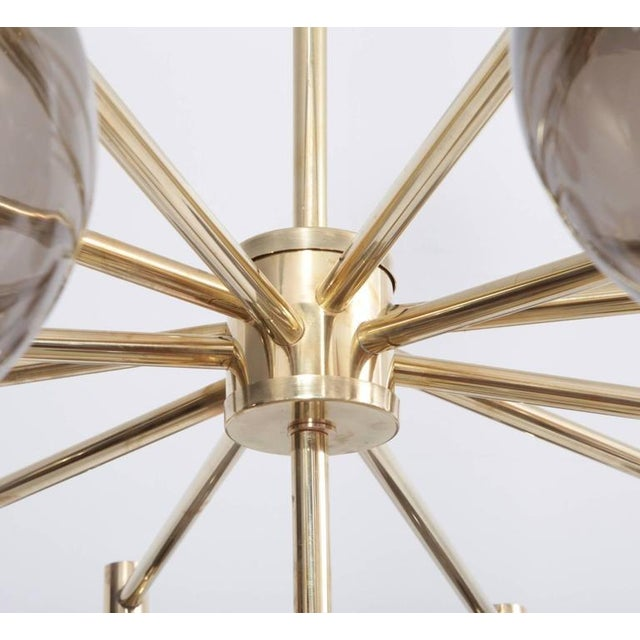 1 of 2 Huge Tinted Glass and Brass Chandelier Attributed to Hans-Agne Jakobsson For Sale - Image 4 of 8