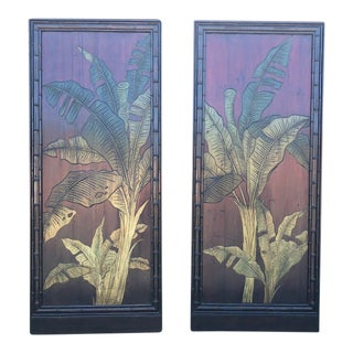 Carved and Painted Tropical Botanical Wooden Panels - a Pair For Sale