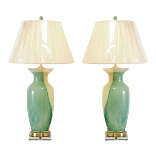 Glorious Pair of Swirl Murano Lamps with Accents of Jade, Brass and Lucite For Sale