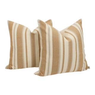 Belgian Linen Ticking Stripe Pillows, a Pair For Sale