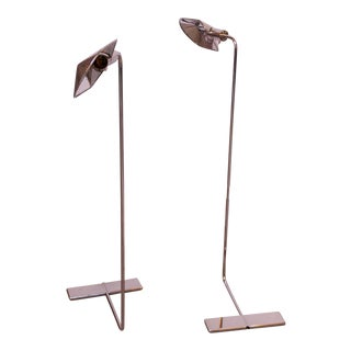 Pair of Chrome Adjustable Floor Lamps by Cedric Hartman For Sale