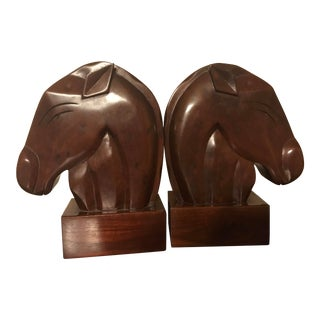 Vintage Art Deco Stylized Horse Head Bookends - a Pair For Sale