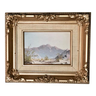 Small California Vintage Plein Aire Oil Painting Framed in Plaster & Wood Gold Frame For Sale