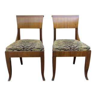 Pair of Antique Beidermeier Style Mahogany Chairs W Tiger Cushions For Sale